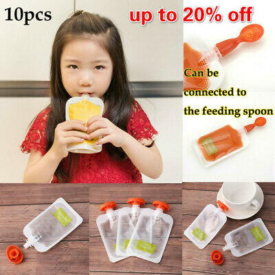10PCS Reusable Baby Squeezed Pouch Weaning Food Puree Squeeze Storage Food Bags