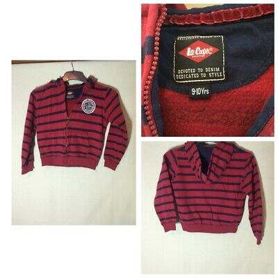 Lee Cooper Kids Red/blue Stripy Cotton Hoodie Age 9-10(653)