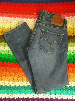 VTG LEVIS 511 SKINNY JEANS 32x32 medium dark wash leather patch