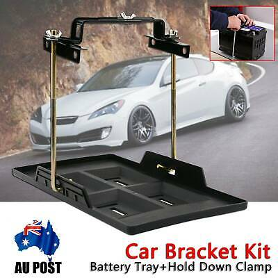 Metal Car Battery Tray Adjustable Hold Down Clamp Bracket Kit Cycle Universal