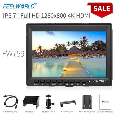 """FEELWORLD FW759 7"""" IPS Camera Field Video Monitor with Power Adapter for DSLR DJ"""