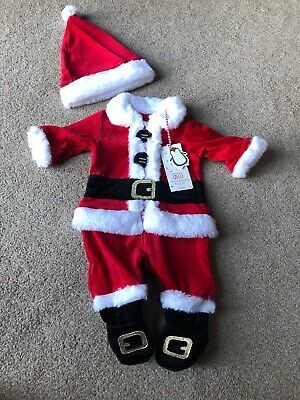 Mothercare Velour Santa Father Christmas All In One Outfit 0-1 Month
