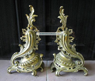 Vintage Brass Fireplace Firedogs Andirons French Rococo Style