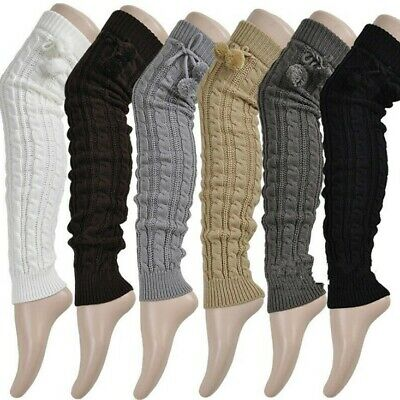 Casual Women Leg Warmers Winter Classic Crochet Extended Knitting Warm 2 Pairs