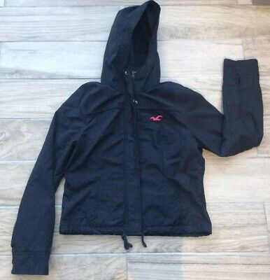 Girls Hollister Coat Age 12/13 Years Hooded Black
