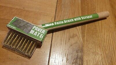 Paver Mate - short handle Wire Patio Brush with Scraper