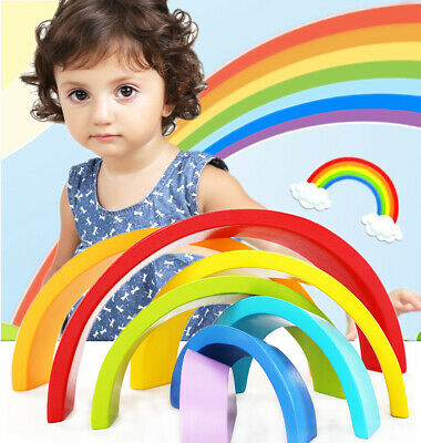 Rainbow Stacking Toy, Wooden Building Blocks Creative and Educational Toy 7pcs