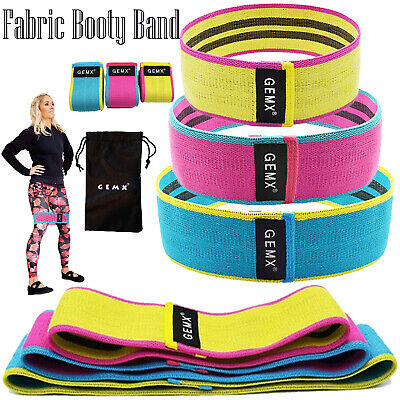 Hip Circle Fabric Resistance Band Set Fitness Loop Rotation Non Slip Yoga Gym UK