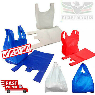 Plastic Vest Carrier Bags Blue White Red Supermarkets Stalls Shops Strong Bags