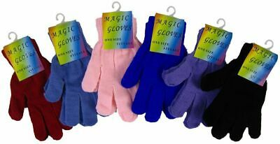 Gloves Childrens 'Magic Gloves' Warm 6 Plain Colours Woolly Knitted One Size