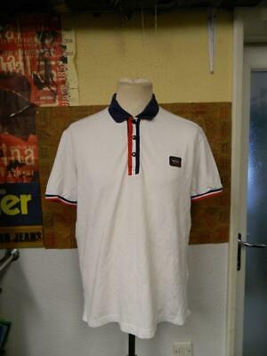 Paul & Shark Yachting White Polo Shirt w/ Red Blue Piping - L