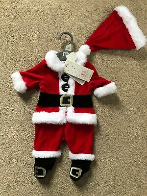 Mothercare Velour Santa Father Christmas All In One Outfit Tiny Early Baby Prem