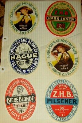 6 Old  Holland Beer Labels Nice Lot 1950s