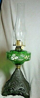 Gorgeous Antique Painted Green Glass & Cast Iron Oil Lamp