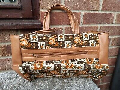 vintage old carpet bag handbag 1970s 1960s orange cream colour
