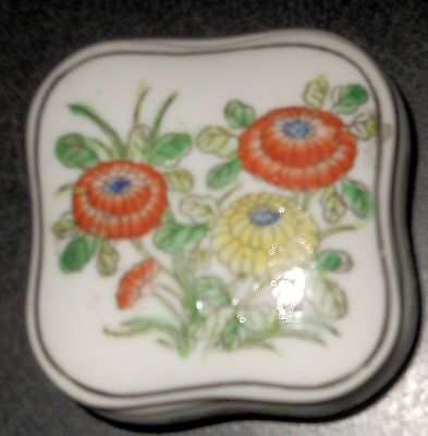 Vintage Signed Square Chinese China Trinket Box, Flowers on Lid and Sides