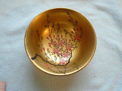 Ref 001 Japanese Gold Lacquerware Bowl With Flowers Pattern