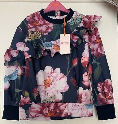 Baker By Ted Baker Girls Floral Frill Sweat Age 7-8 Years NEW