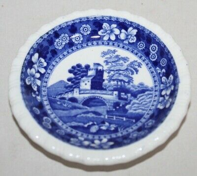 Antique SPODE'S TOWER Blue BUTTER PAT