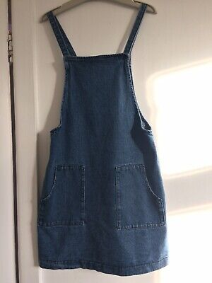 Next Girls Denim Pinafore Dress Double Pockets On Front Age:11.  Exc Cond