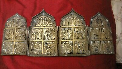 Antique Russian bronze triptich Resuration of Christ with scene of life