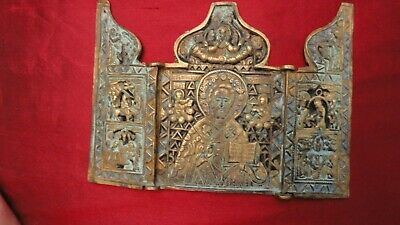"Antique Russian bronze triptich St. Nikolas with scene of life circa 1860  6""x4"""