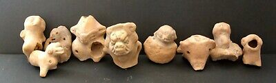 9 Pre-Columbian Mayan Clay Figures Of Birds And Animals Found In Mexico