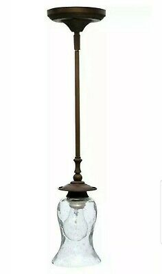 Hampton Bay Grace 1-Light Rubbed Bronze Mini Pendant with Seeded Glass Shade