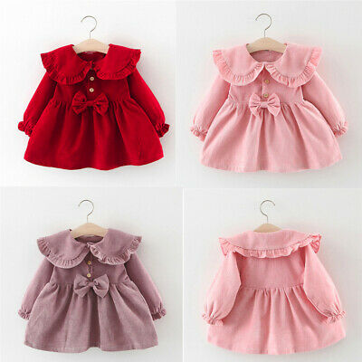 Sweet Toddler Infant Baby Kids Girls Solid Ruffles Bowtie Dress Casual Clothes