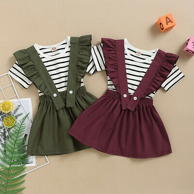Toddler Baby Girls Short Sleeve Striped T-Shirt Tops+Suspender Skirts Outfits