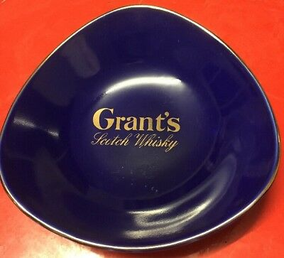 Grants Scotch Whisky Blue Coin Nut Sweets Ash Tray Dish Barware Mancave