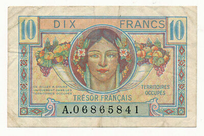 France Allied Occupied Territories 10 Francs 1947 Crisp VF