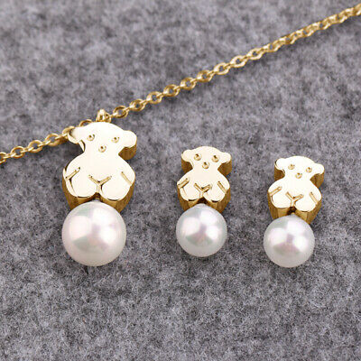 Stainless Steel Earrings Jewelry Set Gold Plated Bear Jewelry Set Wild Pearl