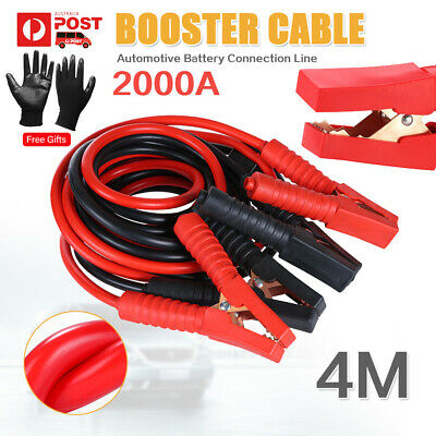 2000AMP 4M Jumper Lead Surge Protected Long Heavy Duty Car Jump Booster Cable OZ