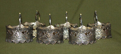 Antique hand made floral silver plated set 6 cups holders