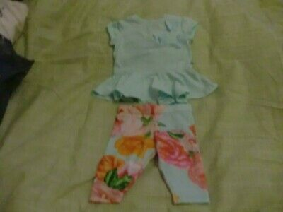 Ted Baker Two Piece Top And Leggings Set  0/3months mint green floral bxA