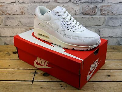 Mens Nike Air Max 90 White Leather Mesh Sports Sneakers Active Trainers Size 9.5
