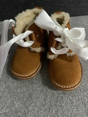 Zara Baby Fur Lined Boots With Ribbon Laces Size Infant 4 Brown