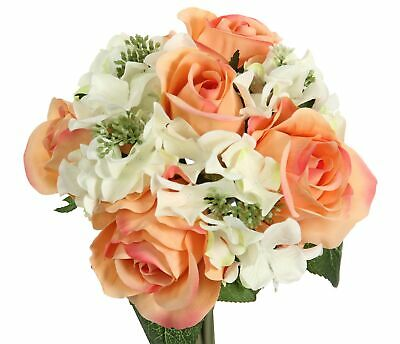 Admired By Nature 9 Stems Artificial Rose Hydrangea Mixed Bouquet, Peach/... New