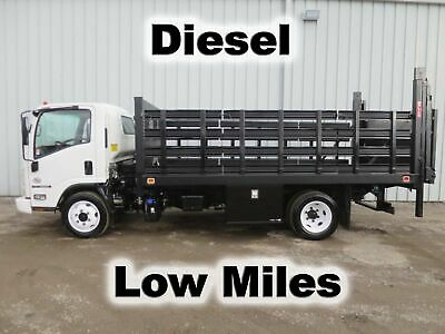 NQR 5500 DIESEL AUTOMATIC 15Ft FLAT STAKE BED BODY LIFTGATE HAUL DELIVERY TRUCK