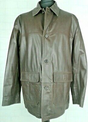 Marks & Spencer XL Mens Brown Genuine Leather Button Up Jacket Light Pad 112