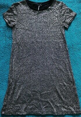 Next girl's sparkly black silver party dress short-sleeved age 10