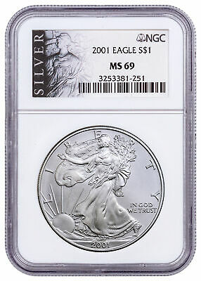 2001 American Silver Eagle $1 NGC MS69 American Liberty Series Label SKU55002