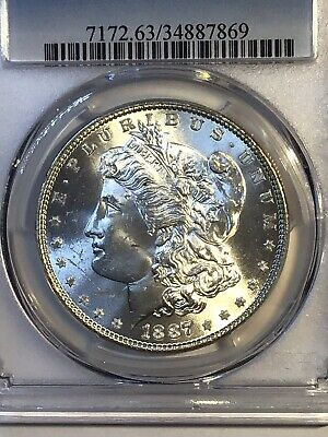 1887-P Morgan Silver Dollar Uncirculated Rare Scarce **Look Photo's** Pcgs Ms63