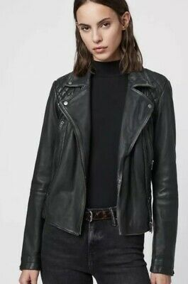 All Saints CARGO UK 12 US 8 Leather Biker Jacket Black New with tag RRP £298