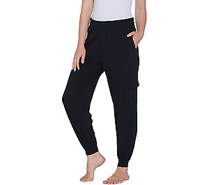 AnyBody Women's Cozy Knit Cargo Jogger Pants with Pockets Black XL Plus Size QVC