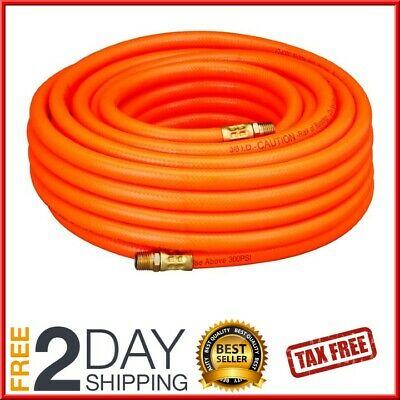 """Air Compressor Hose 50 ft 3/8"""" 1/4"""" MNPT inch PVC Pneumatic Pipe Fittings 300PSI"""