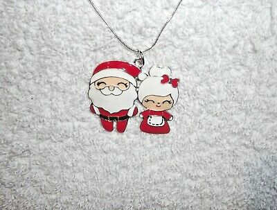 Unwanted MR & MRS Father CHRISTMAS Santa & Mrs CLAUS Large Charm NECKLACE Gift