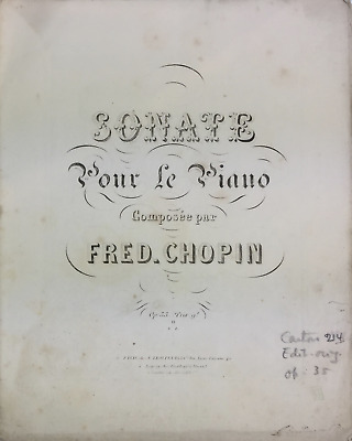 Frederic CHOPIN: Sonata op. 35 - From the collection of Alfred CORTOT (Pianist)