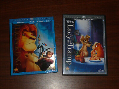 Lot of 2 Disney Diamond Edition Bluray DVD Sets The Lion King Lady and the Tramp